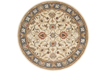 4' Round Rug-Traditional Multicolor