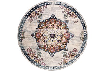 "5'3"" Round Rug-Traditional Bright Multicolored"