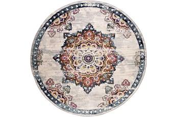 "7'9"" Round Rug-Traditional Bright Multicolored"
