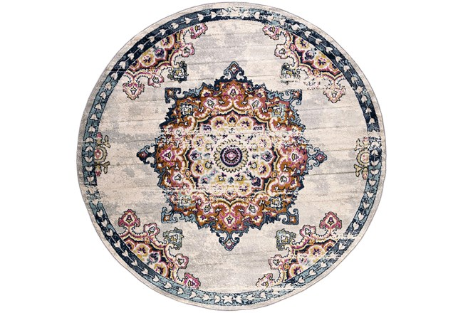 94 Inch Round Rug-Traditional Bright Multicolored - 360