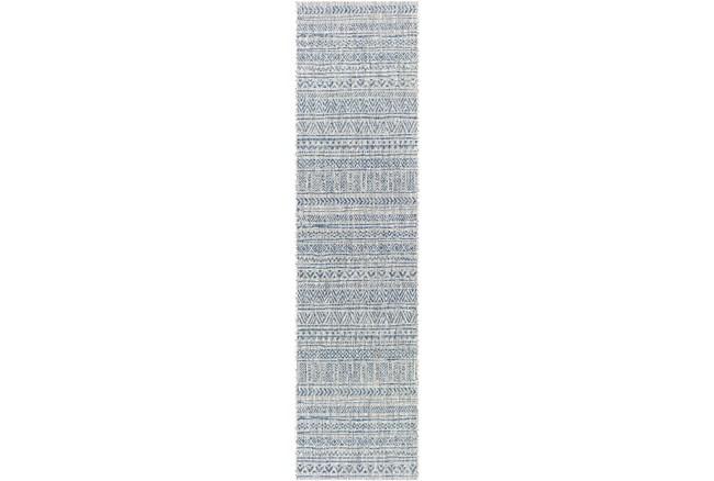 "2'6""x12' Rug-Global Denim Stripe - 360"
