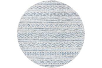 "6'6"" Round Rug-Global Denim Stripe"