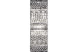 31X90 Rug-Global Black And Grey Stripe