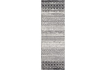 31X90 Rug-Global Black And Grey Stripe