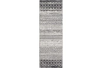 """2'6""""x7'5"""" Rug-Global Black And Grey Stripe"""