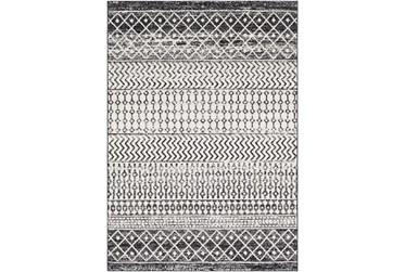 """3'9""""x5'6"""" Rug-Global Black And Grey Stripe"""