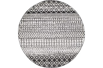 63 Inch Round Rug-Global Black And Grey Stripe