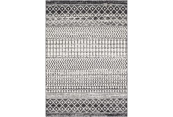 """9'x12'5"""" Rug-Global Black And Grey Stripe"""