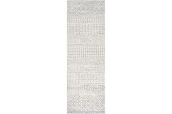 31X120 Rug-Global Grey And White Stripe