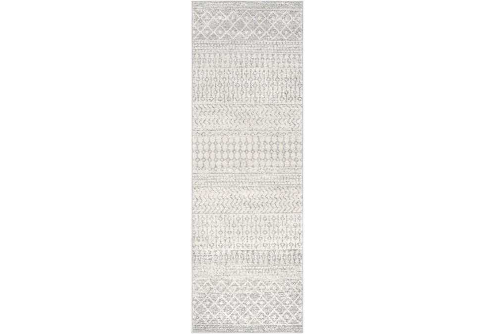 "2'6""x12' Rug-Global Grey And White Stripe"