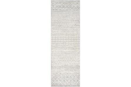 31X144 Rug-Global Grey And White Stripe - Main