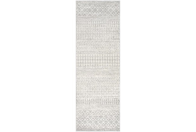 "2'6""x12' Rug-Global Grey And White Stripe - 360"