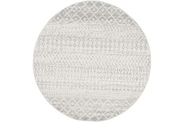 63 Inch Round Rug-Global Grey And White Stripe