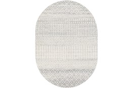 "6'6""x9' Oval Rug-Global Grey And White Stripe"