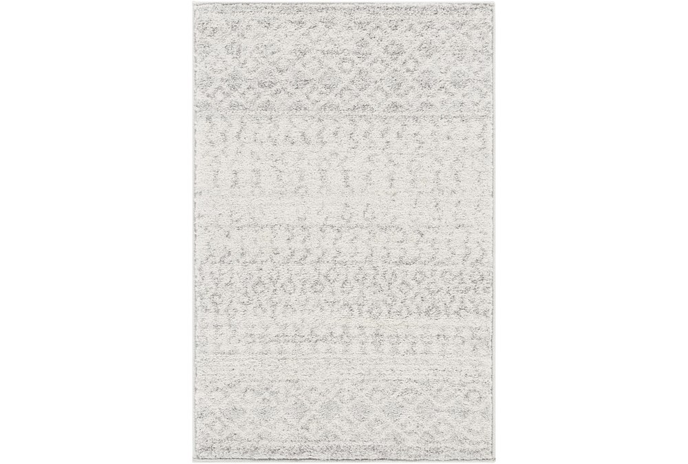 94X123 Rug-Global Grey And White Stripe