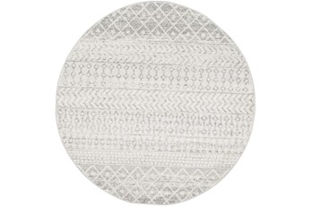 94 Inch Round Rug-Global Grey And White Stripe