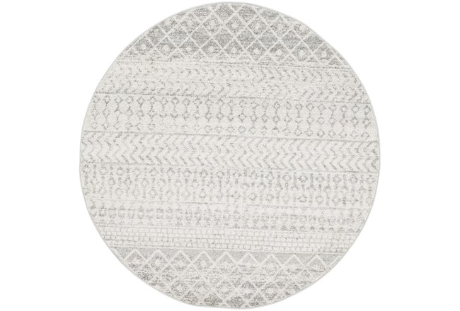94 Inch Round Rug-Global Grey And White Stripe - 360