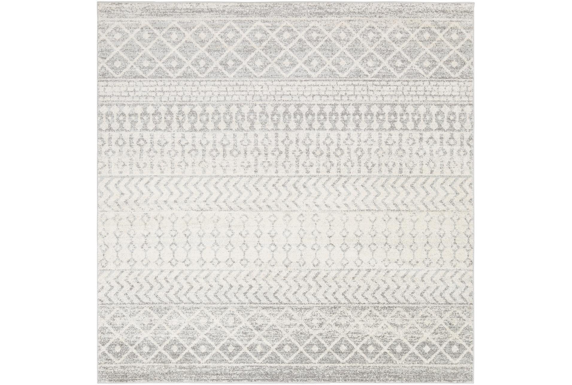 Square Rug Global Grey And White Stripe