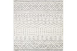 "7'8""x7'8"" Square Rug-Global Grey And White Stripe"