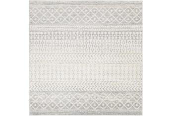 "7'8""x7'8"" Square Rug-Global Grey And White Stripe"