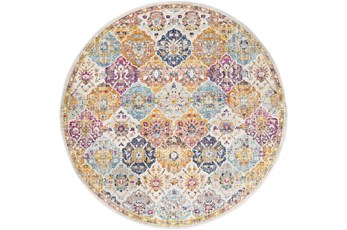 63 Inch Round Rug-Traditional Bold Multicolor