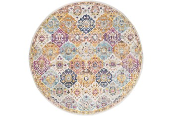 """5'3"""" Round Rug-Traditional Bold Multicolor"""