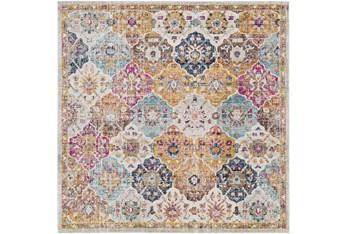 "6'5""x6'5"" Square Rug-Traditional Bold Multicolor"