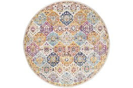 94 Inch Round Rug-Traditional Bold Multicolor