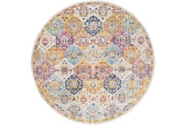 """7'9"""" Round Rug-Traditional Bold Multicolor"""