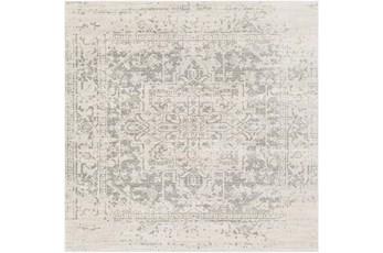 "6'5""x6'5"" Square Rug-Traditional Soft Greys"