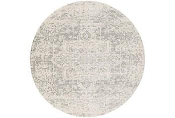 "7'9"" Round Rug-Traditional Soft Greys"