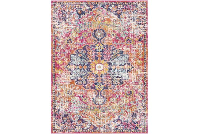 """3'9""""x5'6"""" Rug-Traditional Bright Pink/Multicolored - 360"""