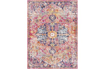 94X123 Rug-Traditional Bright Pink/Multicolored