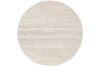 6' Round Rug-Global Cream Striped