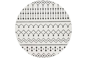 63 Inch Round Rug-Global Black And White