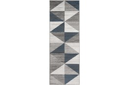 "2'6""x7'3"" Rug-Modern Triangle Greys And White"