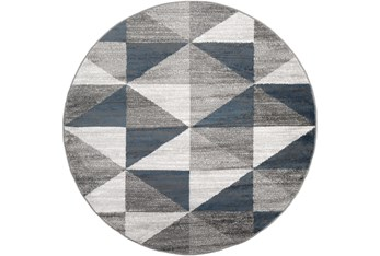 """5'3"""" Round Rug-Modern Triangle Greys And White"""