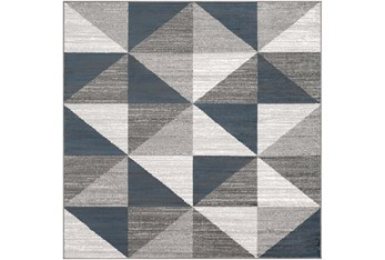 """6'5""""x6'5"""" Square Rug-Modern Triangle Greys And White"""