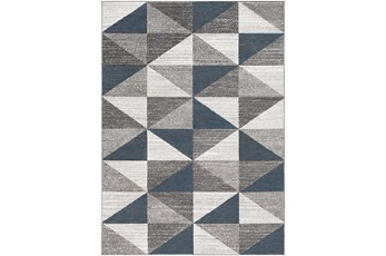 94X122 Rug-Modern Triangle Greys And White