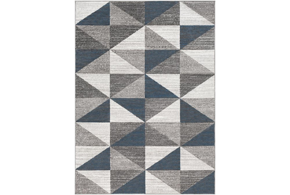 108X144 Rug-Modern Triangle Greys And White