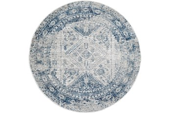 63 Inch Round Rug-Traditional Blue