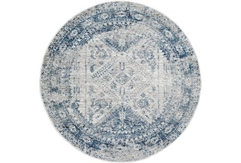 """5'3"""" Round Rug-Traditional Blue"""