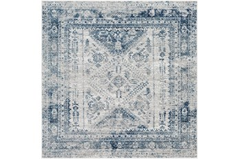 79X79 Square Rug-Traditional Blue
