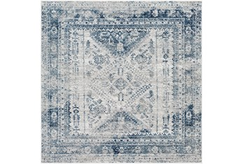 """6'5""""x6'5"""" Square Rug-Traditional Blue"""
