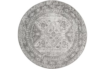 """5'3"""" Round Rug-Traditional Grey"""