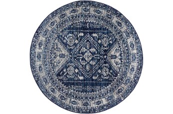 "5'3"" Round Rug-Traditional Navy"