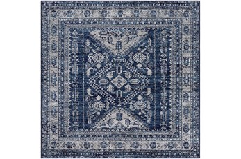 """6'5""""x6'5"""" Square Rug-Traditional Navy"""