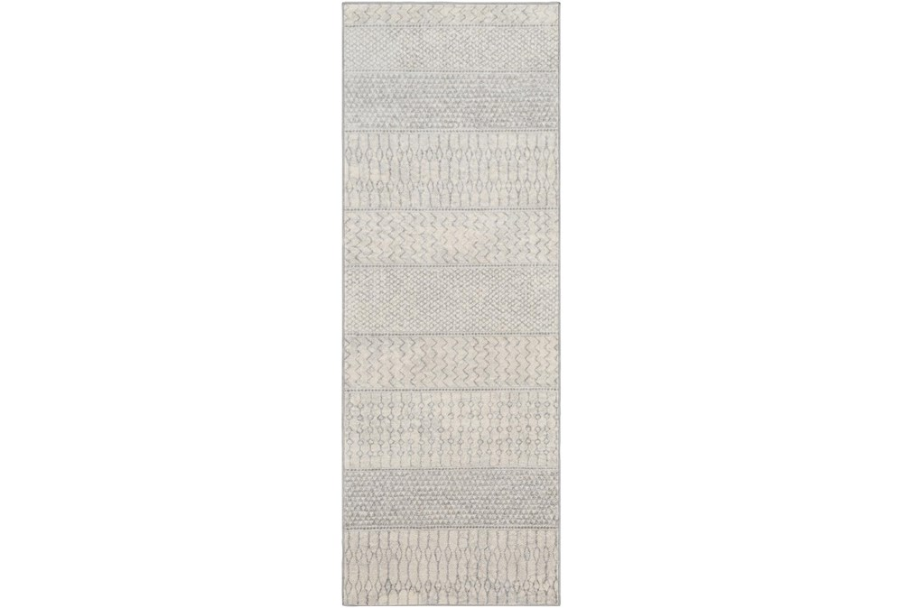 "2'6""x7'3"" Rug-Global Muted Stripe Grey"
