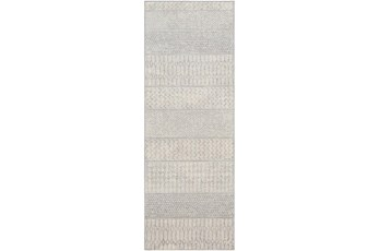 31X87 Rug-Global Muted Stripe Grey