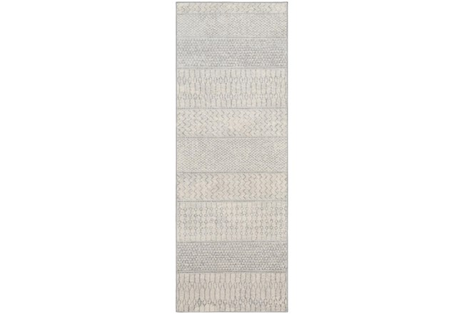 "2'6""x7'3"" Rug-Global Muted Stripe Grey - 360"